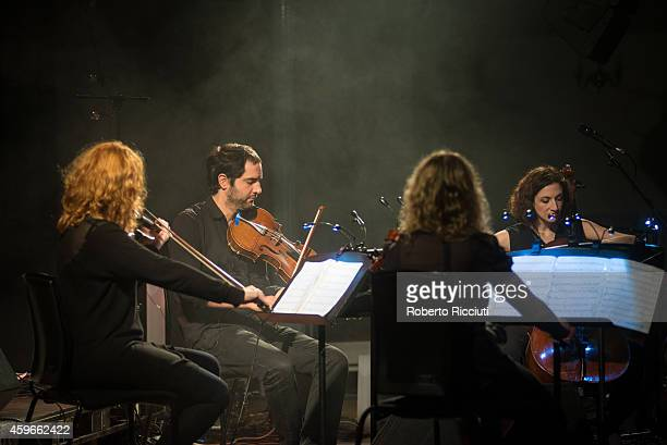Jennymay Logan Vincent Sipprell Emma Smith and Laura Moody of Elysian Quartet perform on stage at Queens Hall on November 27 2014 in Edinburgh United...