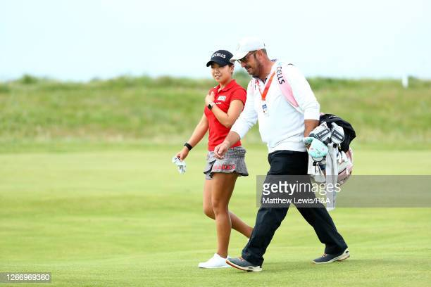 Jenny Shin of South Korea speaks to her caddie during a practice round ahead of the AIG Women's Open 2020 at Royal Troon on August 18 2020 in Troon...