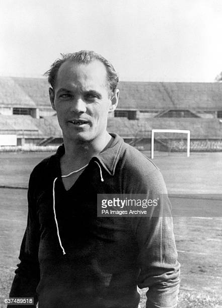 Jeno Buzanszky right back Members of the Hungarian football team winners of the Olympic football competition Helsinki 1952 who are to meet England at...