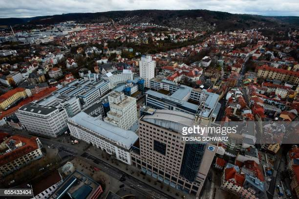 Jenoptik company headquarters is pictured in Jena eastern Germany on March 6 2017 Jena its researchers its hightech companies and its flourishing...