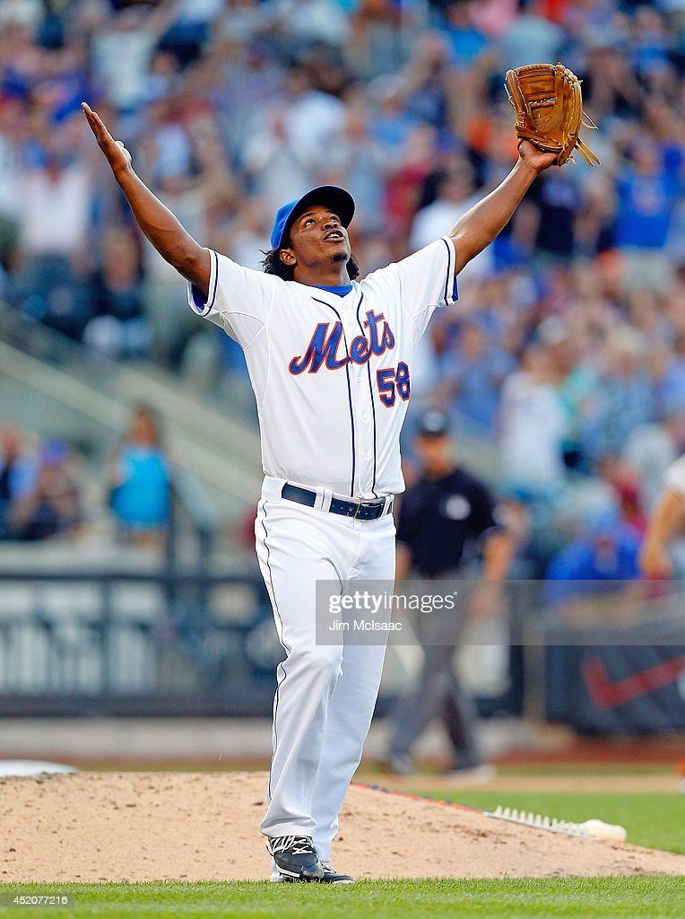 Jenrry Mejia #58 of the New York Mets celebrates the final out of a game against the Miami Marlins at Citi Field on July 12, 2014 in the Flushing neighborhood of the Queens borough of New York City. The Mets defeated the Marlins 5-4.