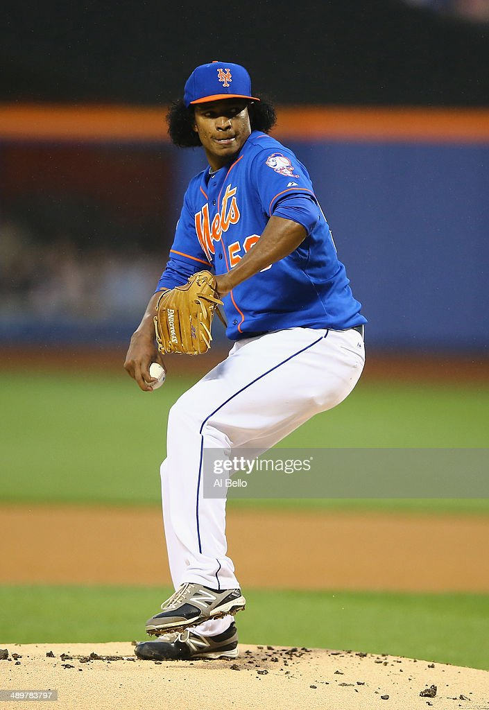 Jenrry Mejia #58 of the New York Mets pitches against the Philadelphia Phillies during their game on May 9, 2014 at Citi Field in the Flushing neighborhood of the Queens borough of New York City.