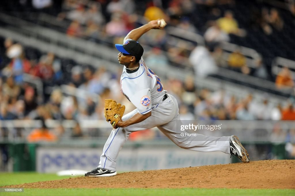 Jenrry Mejia #32 of the New York Mets pitches against the Washington Nationals at Nationals Park on May 20, 2010 in Washington, DC.