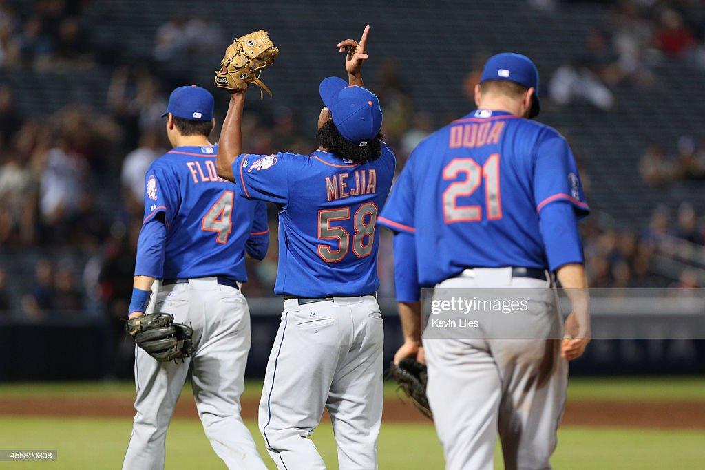 Jenrry Mejia #58 of the New York Mets reacts after defeating the Atlanta Braves 4-2 against the xxxxx at Turner Field on September 20, 2014 in Atlanta, Georgia.