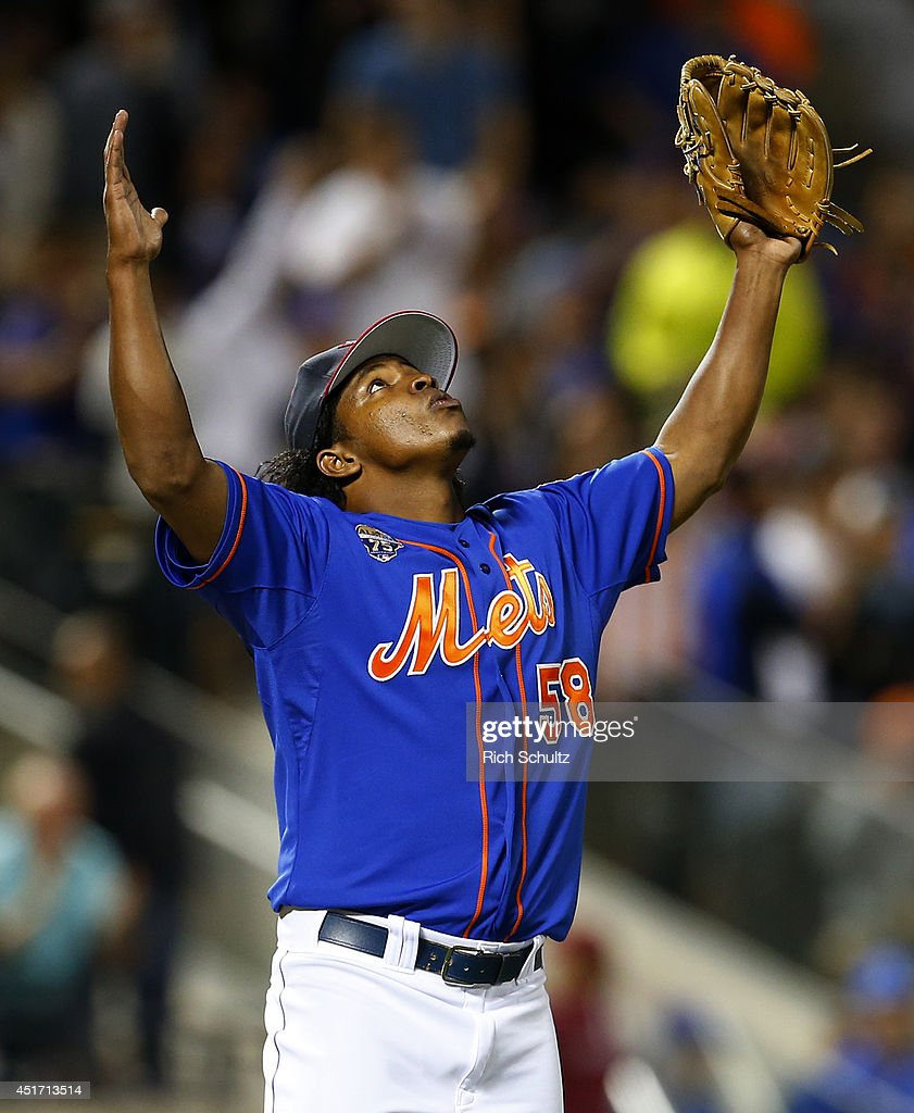 Jenrry Mejia #58 of the New York Mets reacts after getting the final out in the ninth inning during a game against the Texas Rangers on July 4, 2014 at Citi Field in the Flushing neighborhood of the Queens borough of New York City. The Mets defeated the Rangers 6-5.