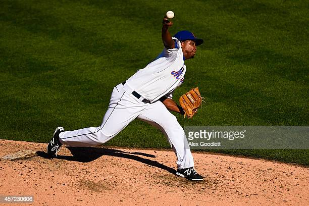 Jenrry Mejia of the New York Mets throws a pitch during a game against the Houston Astros at Citi Field on September 28 2014 in the Flushing...