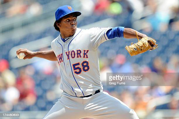 Jenry Mejia of the New York Mets pitches in the first inning against the Washington Nationals at Nationals Park on July 26 2013 in Washington DC