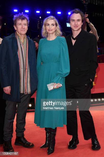 Jens Albinus Nina Hoss and Lars Eidinger pose at the My Little Sister premiere during the 70th Berlinale International Film Festival Berlin at...