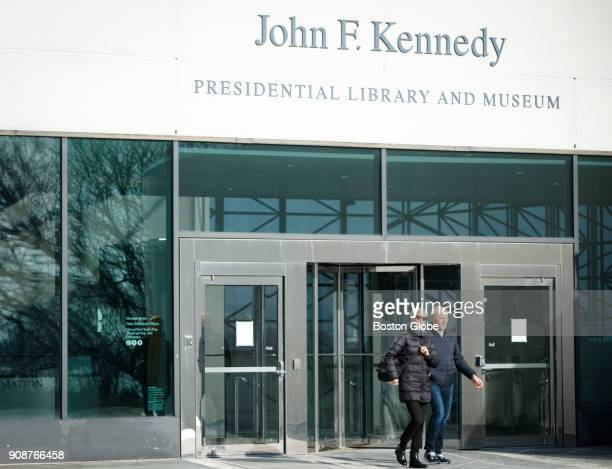 Jens and Ursula Dill of Basel Switzerland turn away from the entrance of the John F Kennedy Library and Museum in the Dorchester neighborhood of...
