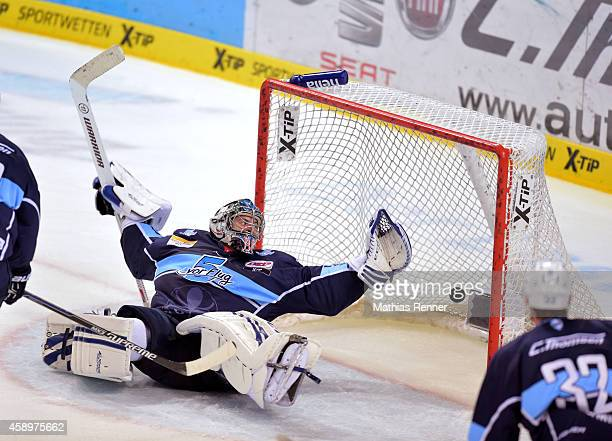 Jens Baxmann of the Eisbaeren Berlin scores the 11 during the game between Hamburg Freezers and Eisbaeren Berlin on November 14 2014 in Hamburg...