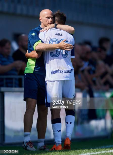 Jens Berthel Askou head coach of Vendsyssel FF and Alexander Juel Andersen of Vendsyssel FF huddle during the Danish Superliga match between...