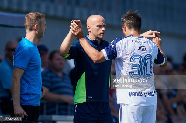 Jens Berthel Askou head coach of Vendsyssel FF celebrates with Alexander Juel Andersen of Vendsyssel FF during the Danish Superliga match between...