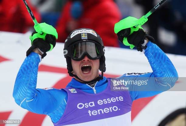 Jens Byggmark of Sweden celebrates in the finish area on the way to finishing second in the Men's Slalom during the Alpine FIS Ski World...