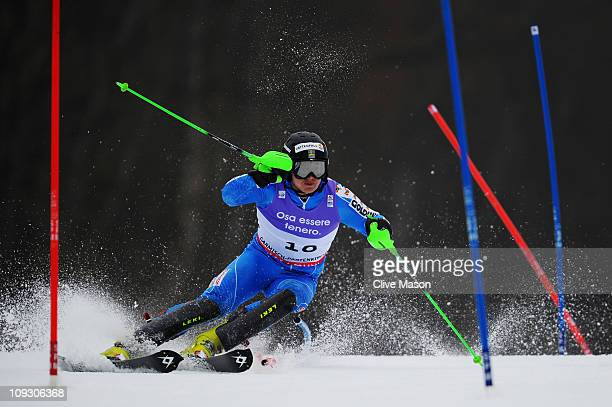Jens Byggmark of Sweden skis on the way to finishing in second place in the Men's Slalom during the Alpine FIS Ski World Championships on the...