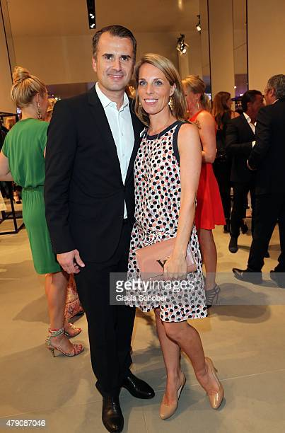 Jens Ciliax and his wife Catherine Ciliax Sonne during the Emporio Armani Sounds event in connection with the reopening of the store on June 30 2015...