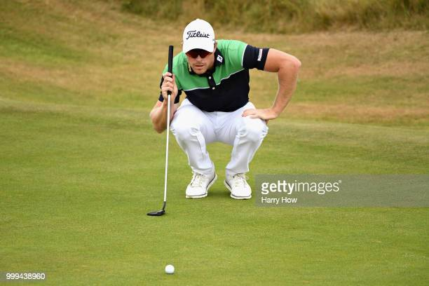 Jens Dantorp of Sweden lines up a putt on hole one during day four of the Aberdeen Standard Investments Scottish Open at Gullane Golf Course on July...