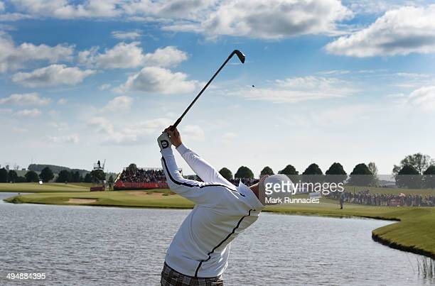 Jens Dantorp of Sweden plays his tee shot to the 17th green during the Nordea Masters at the PGA Sweden National on May 31 2014 in Malmo Sweden