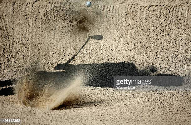 Jens Dantorp of Sweden plays out of the 12th greenside bunker during the final round of the NBO Golf Classic Grand Final at the Almouj Golf Club The...