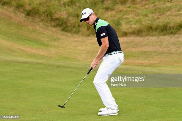Jens Dantorp of Sweden reacts to a missed birdie putt on hole one during day four of the Aberdeen Standard Investments Scottish Open at Gullane Golf...