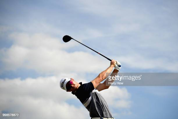 Jens Dantorp of Sweden takes his tee shot on hole two during day three of the Aberdeen Standard Investments Scottish Open at Gullane Golf Course on...