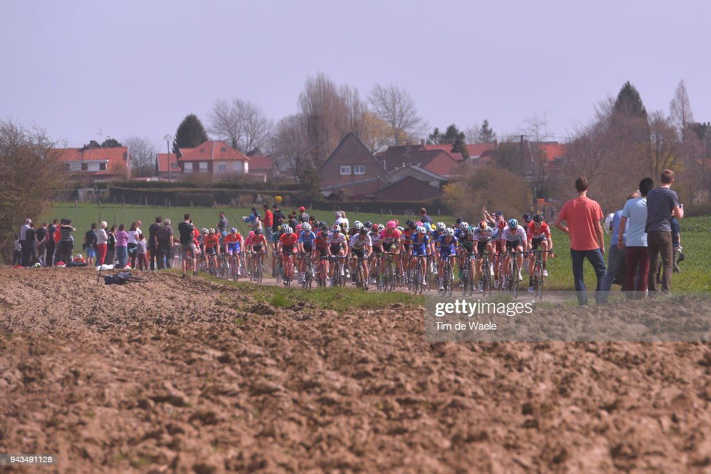 Jens Debusschere of Belgium and Team Lotto Soudal / Ian Stannard of Great Britain and Team Sky / Tony Martin of Germany and Team Katusha Alpecin / Marcus Burghardt of Germany and Team Bora - Hansgrohe / Maciej Bodnar of Poland and Team Bora - Hansgrohe / Peter Sagan of Slovakia and Team Bora - Hansgrohe / Greg Van Avermaet of Belgium and BMC Racing Team / Sep Vanmarcke of Belgium and Team EF Education First - Drapac P/B Cannondale / Philippe Gilbert of Belgium and Team Quick-Step Floors / Querenaing / during the 116th Paris - Roubaix 2018 a 257km race from Compiegne to Roubaix on April 8, 2018 in Roubaix, France.