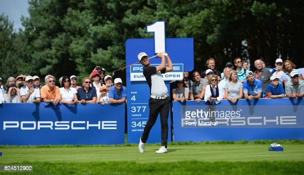 Jens Fahrbring of Sweden plays his first shot on the 1st tee during the Porsche European Open Day Four at Green Eagle Golf Course on July 30 2017 in...