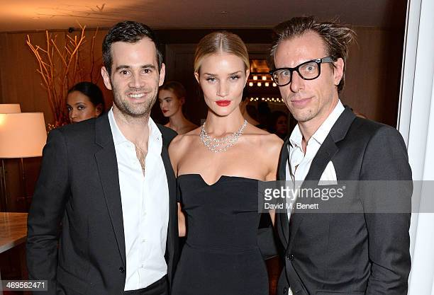 Jens Grede Rosie HuntingtonWhiteley and Erik Torstensson attend the GRACE debut and AW14 dinner at Cafe Royal on February 15 2014 in London England