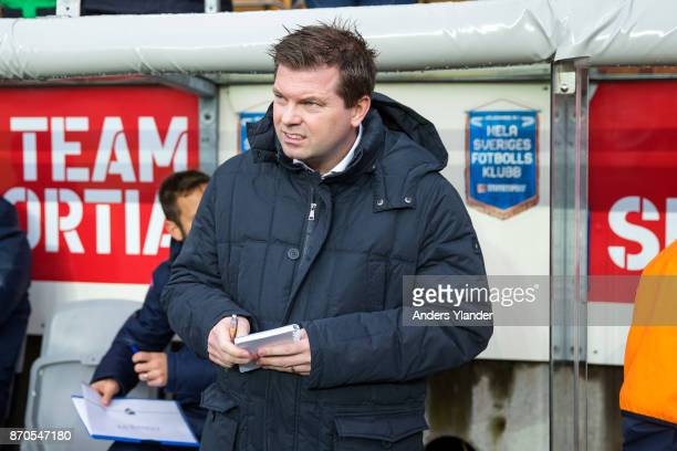 Jens Gustafsson head coach of IFK Norrkoping looks on prior to the Allsvenskan match between IF Elfsborg and IFK Norrkoping at Boras Arena on...