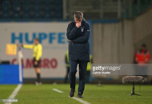 Jens Haertel head coach of Hansa Rostock reacts during the 3 Liga match between Hansa Rostock and Eintracht Braunschweig at Ostseestadion on March 09...