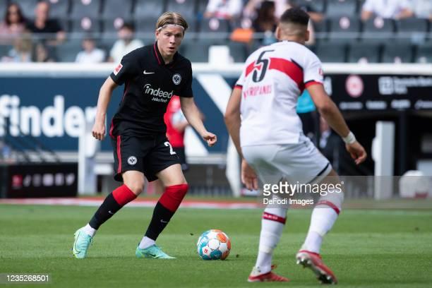 Jens Hauge of Eintracht Frankfurt controls the ball during the Bundesliga match between Eintracht Frankfurt and VfB Stuttgart at Deutsche Bank Park...