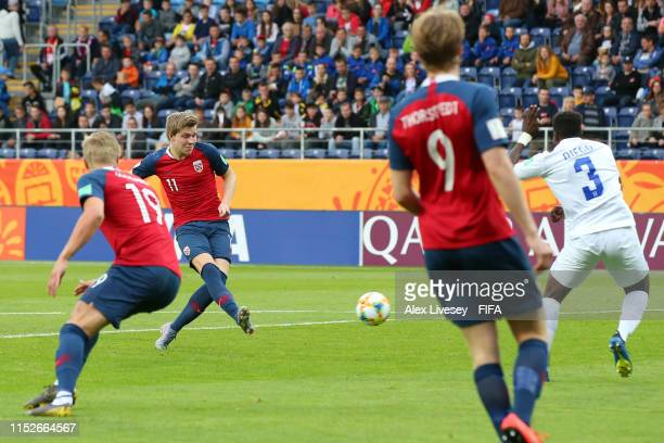 Jens Hauge of Norway scores his team's sixth goal during the 2019 FIFA U20 World Cup group C match between Norway and Honduras at Arena Lublin on May...
