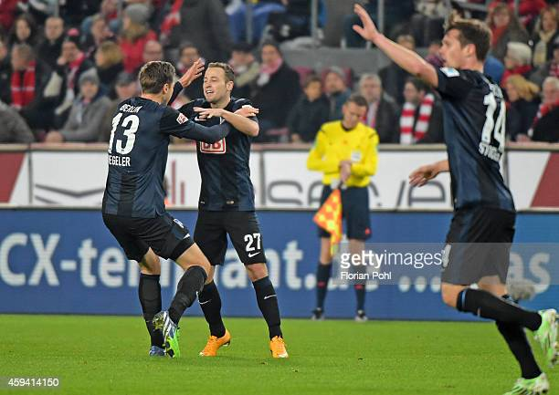 Jens Hegeler and Roy Beerens of Hertha BSC celebrate after scoring the 0:1 during the Bundesliga match between 1. FC Koeln and Hertha BSC on November...