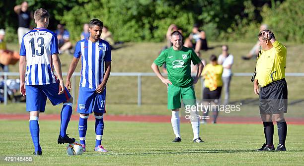 Jens Hegeler and Sami Allagui of Hertha BSC beim Anstoss during the game between dem 1 FC Luebars and Hertha BSC on July 1 2015 in Berlin Germany