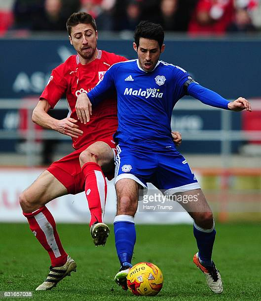 Jens Hegeler of Bristol City is tackled by Peter Whittingham of Cardiff City during the Sky Bet Championship match between Bristol City and Cardiff...