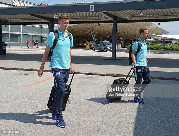 Jens Heger and Roy Beerens of Hertha BSC during their arrival at Salzburg Airport ahead of the training camp in Schladming on July 19 2015 in...