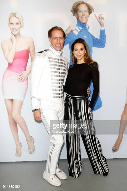 Jens Hilbert and Grace Capristo during the presentation of the new hairfree campaign on February 6 2018 in Darmstadt Germany