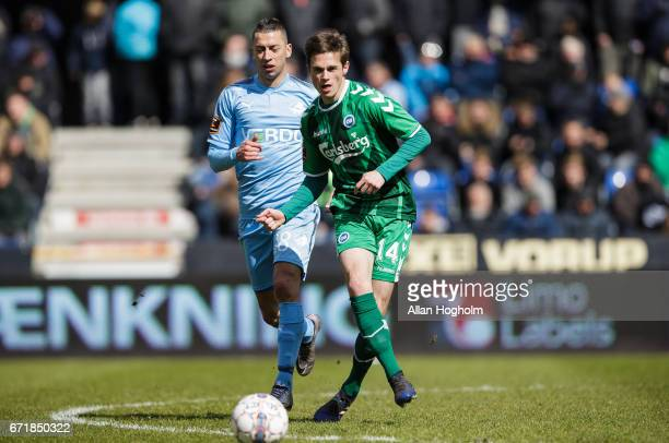 Jens Jakob Thomasen of OB controls the ball during the Danish Alka Superliga match between Randers FC and OB Odense at BioNutria Park on April 23...
