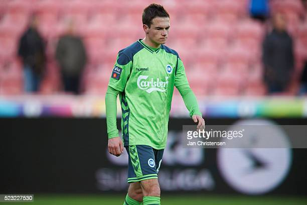 Jens Jakob Thomasen of OB Odense looks dejected after the Danish Alka Superliga match between FC Midtjylland and OB Odense at MCH Arena on April 22...