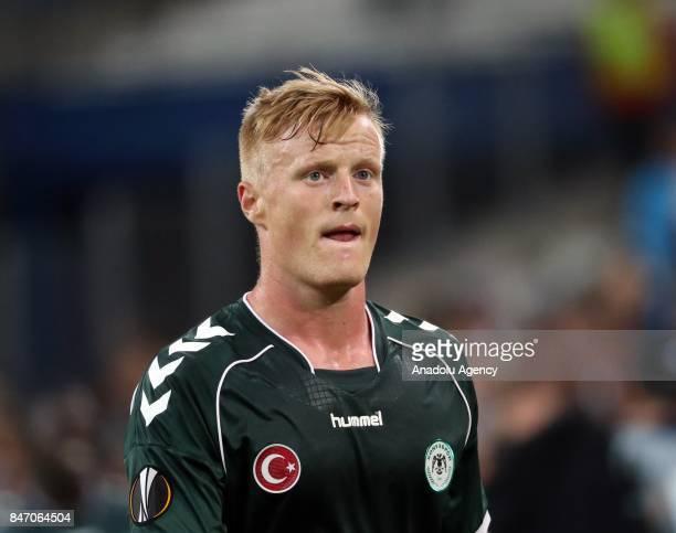 Jens Jonsson of Atiker Konyaspor reacts during the UEFA Europa League Group I match between Olympique de Marseille and Atiker Konyaspor at Stade...