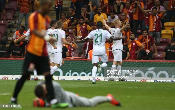 Jens Jonsson of Konyaspor celebrates after scoring a goal during the Turkish Super Lig soccer match between Galatasaray and Konyaspor at Turk Telekom...