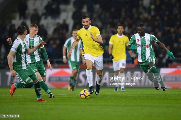 Jens Jonsson of Konyaspor, Mehmet Topal of Fenerbahce, Moryke Fofana of Konyaspor during the Turkish Super lig match between Konyaspor v Fenerbahce...