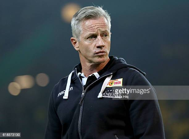 Jens Keller head coach of Berlin looks on before DFB Cup second round match between Borussia Dortmund and 1 FC Union Berlin at Signal Iduna Park on...