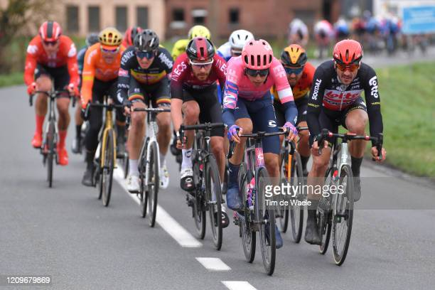 Jens Keukeleire of Belgium and Team EF Pro Cycling / John Degenkolb of Germany and Team Lotto Soudal / Peloton / Luke Rowe of The United Kingdom and...