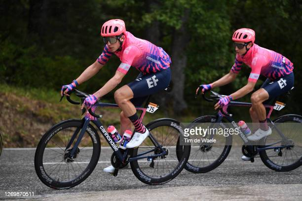 Jens Keukeleire of Belgium and Team EF Pro Cycling / Neilson Powless of The United States and Team EF Pro Cycling / during the 107th Tour de France...