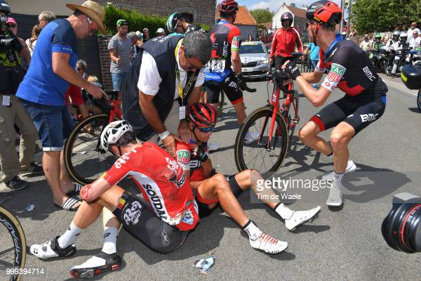 Jens Keukeleire of Belgium and Team Lotto Soudal / Michael Schar of Switzerland and BMC Racing Team / Richie Porte of Australia and BMC Racing Team /...