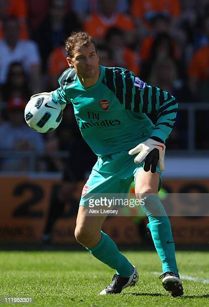 Jens Lehman of Arsenal during the Barclays Premier League match between Blackpool and Arsenal at Bloomfield Road on April 10 2011 in Blackpool England