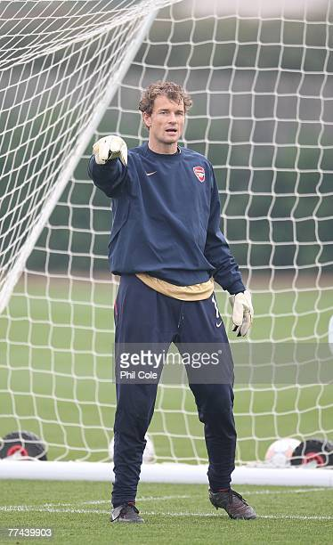 Jens Lehman of Arsenal gestures during an Arsenal training session at Arsenal's London Colney Training Ground on October 22 2007 in London England