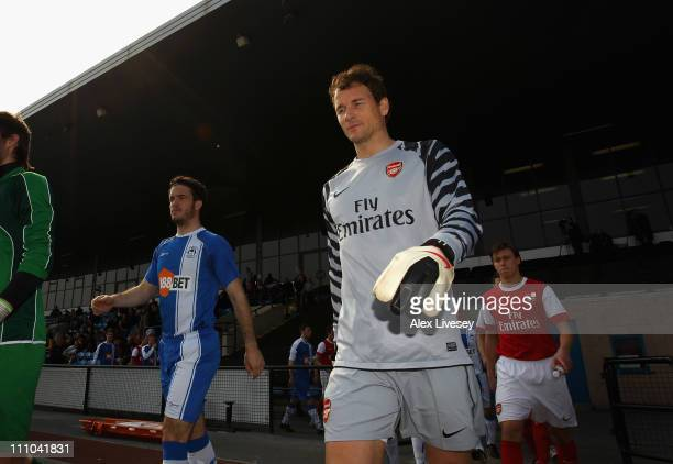Jens Lehman of Arsenal walks out for the Barclays Premier Reserve League match between Wigan Athletic and Arsenal on March 29 2011 in Wigan England
