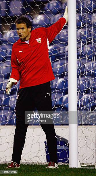 Jens Lehman of VFB Stuttgart trains at Ibrox stadium ahead of their Champion League Group G match against Rangers on November 23 2009 in Glasgow...