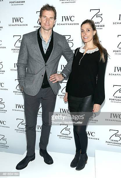 Jens Lehmann and Conny Lehmann visit the IWC booth during the Salon International de la Haute Horlogerie 2015 at the Palexpo on January 20, 2015 in...